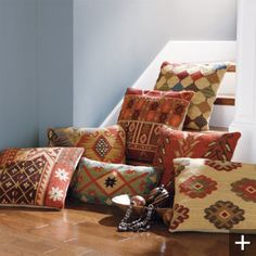 kilim pillows to coordinate & add color for southwest style