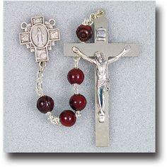 Maroon Coco Bead Rosary With by Hirten | Catholic Shopping .com
