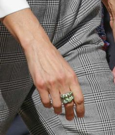 Doña Letizia wore an oversized ring with green stones. This is only the third occasion Doña Letizia has worn this ring since becoming Queen consort in June 2014. The origin of the ring is currently unknown. Queen Letizia attends the opening of vocational training course 2017/2018 at the Segundo de Chomon Secondary School in Teruel. 27 September 2017