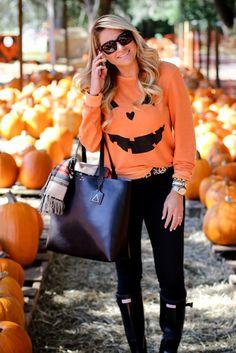 Grownup Halloween Costume. Pumpkin Sweatshirt. Wildfox. Hunter boots.