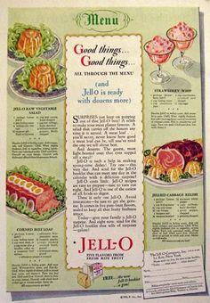 Vintage Recipe Ads | Original vintage magazine print ad for Jello featuring recipes for Raw ...