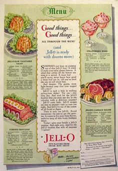 Vintage Recipe Ads | Original vintage magazine print ad for Jello featuring recipes for Raw ...