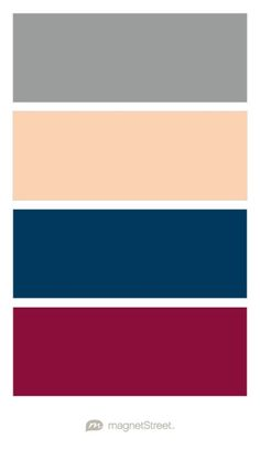 Classic Gray, Peach, Navy, and Burgundy Wedding Color Palette - custom color palette created at MagnetStreet.com