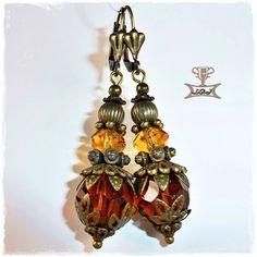 Gothic-Schmuck - Barock Gothic Rokoko Ohrhänger Topaz Schliffglas - ein Designerstück von Miss-AraBeeXX bei DaWanda