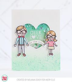 Melania Deasy for Avery Elle Supplies: Geek Love Clear Stamps Geek Love Ellements The Everyday Collection Paper Pad Aquamarine Pigment Ink Pad Mint To Be Pigment Ink Pad