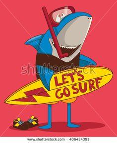 surfer shark cartoon character design