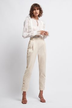 The Prima Buttoned Trouser is a Sand coloured, structured trouser with buttoned detail at the leg. Khaki Pants Outfit, Double Breasted Blazer, Tailored Trousers, Capsule Wardrobe, Dresses Online, Work Wear, Fitness Models, Capri Pants, Buttons