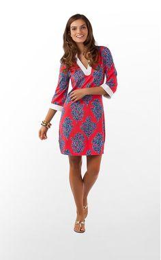 Joy Tunic Dress Bright Navy Coral Siesta