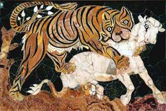 Panel in opus sectile with tiger assaulting a calf  Mosaic / Intarsia  First half of 4th century AD  Coloured marbles  Roman  (Source: Musei Capitolini)