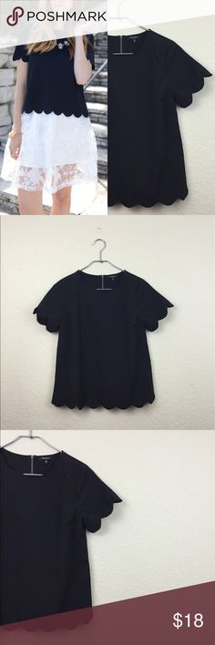 New Monteau scallop top •Monteau •shirt •size small •never worn •Check out my other items! Monteau Tops Blouses