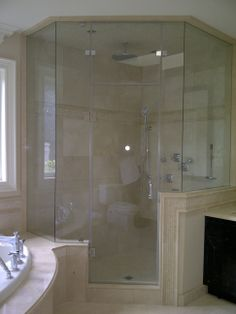 glass shower enclosure Bathroom Lighting, Master Bathroom, Glass Shower, Lighted Bathroom Mirror, Home Decor, Bathroom Mirror, Bathroom, Glass Shower Enclosures, Glass