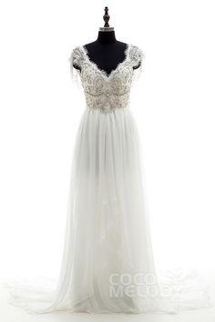 Fantastic+Sheath-Column+V-neck+Natural+Chapel+Train+Chiffon+Ivory+Sleeveless+Open+Back+Wedding+Dress+Beading+Draped+LD3734