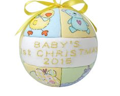 Yellow 2015 Babys First Christmas Newborn Ornament by CraftCrazy4U