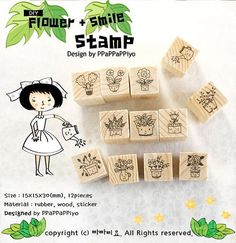 Anime Flowers Wooden Rubber Stamps 12 pieces Korean by CharmTape, $4.95