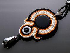 Black orange Soutache necklace with Onyx and Hematite. от ANBijou