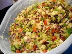 Oh, how I've missed this salad since I quit meat.    Homemade Portillo's Chopped Salad.  I swear this tastes just like it!  I use feta instead of gorgonzola & use Marzetti Sweet Italian dressing.  I make this a lot at my house!