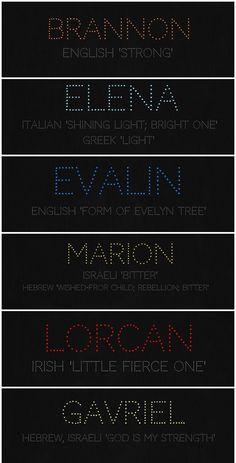 Brannon, Elena, Evalin, Marion, Lorcan, Gavriel name meanings