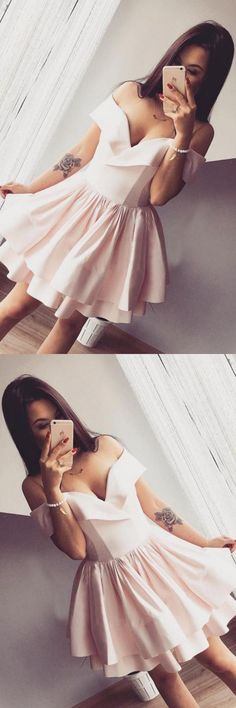 Homecoming Dresses A-Line, Short Prom Dress, Cute Prom Dress, Prom Dresses 2019, Pink Homecoming Dresses #HomecomingDressesALine #ShortPromDress #CutePromDress #PromDresses2019 #PinkHomecomingDresses