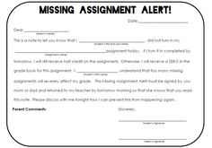 FREE Missing Assignment Alert note for parents from therealteachr.blogspot.com
