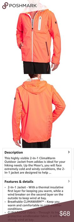 Adidas 2-1 Clima Warm Outdoor Jacket UNISEX In excellent condition very nice Adidas coat. Has ins9de removable fleece jacket can be worn with or without. This is men's size small and womems size Medium. Color is very pretty neon bright orange adidas Jackets & Coats