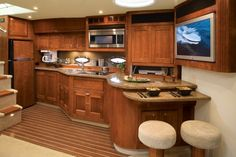 Boating with style! Inside the cabin of a cruisers yachts boat.
