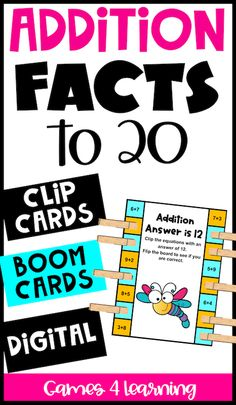 These fun math activities for addition math facts gives you three different verisons - Boom Cards, Clip Cards and a Digital version too! Great for math fact practice to develop fact fluency! Use in math centers, stations, rotations, reveiw. The addition Boom Cards are a great distance learning activity and perfect for home learning or homeschool. A fun math fact activity with addition facts to 20 for 1st, 2nd or even 3rd grade. Choose the printable or online versions for math fact practice! Teaching Addition, Addition Activities, Fun Math Activities, Math Classroom, Google Classroom, Math Fact Practice, Math Fact Fluency, Addition Facts, Math Facts