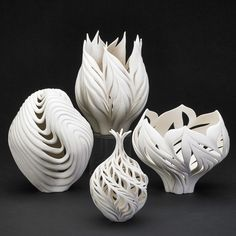 Form inspiration for beach outdoor lighting || Carved bisque porcelain by Jennifer McCurdy