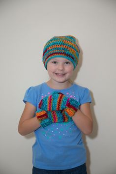 Crochet Beanies and Mittens/Kids Slouchy Hat and Mitten Set/ Handmade Beanies/Crochet Mittens by Mandyscrochetshop on Etsy