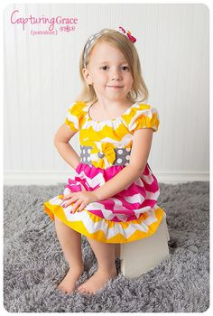 Bright and Fun Yellow gray and Pink Chevron by WhimsyGraceDesigns, $32.95