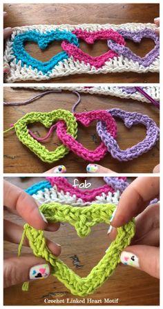 Crochet Linked Heart Motif Free Pattern + Video
