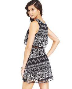 American Rag Layered-Look Printed Dress - Juniors American Rag - Macy's