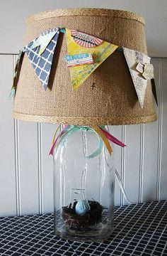 Pennant flag lamp.  Cute for the boys' room.