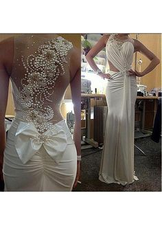 Graceful Spandex & Tulle Jewel Neckline Beaded Mermaid Wedding Dress