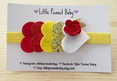 Glitter and Felt Heart Headband - disney headband - red felt rose - disney princess belle headband