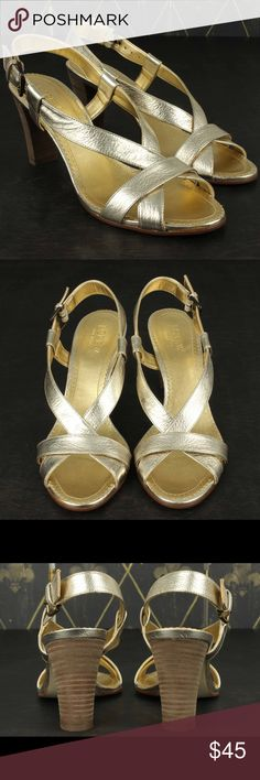 J CREW Mila Sandals 8 Metallic Gold  Heels DESCRIPTION:J CREW Mila Stacked Heels Metallic Gold Sandals Shoes Made in Italy Size 8 With Box CONDITION: Very Good/Excellent Shoe trees not included. MATERIAL: Leather TAGGED SIZE: 8 J. Crew Shoes Heels