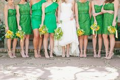 Today I am presenting to you quite a different yet unique collection of green lace bridesmaid dresses! Enjoy this post of green lace bridesmaid dresses Short Lace Bridesmaid Dresses, Yellow Bridesmaids, Bridesmaids And Groomsmen, Bridesmaid Flowers, Wedding Dresses, Green Lace, Green Dress, Bridal Fabric, Dress Cake