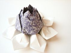 Origami Lotus Flower Decoration or Favor // made from purple and silver filigree art paper with moss green leaves - fishandlotus