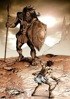 David and Goliath Pictures Of Christ, Bible Pictures, David Biblia, David And Goliath, Bible Illustrations, Christian Pictures, Jesus Art, Prophetic Art, Biblical Art