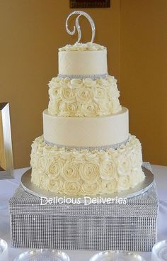 Buttercream Rosette Wedding Cake - by DeliciousDeliveries @ CakesDecor.com - cake decorating website