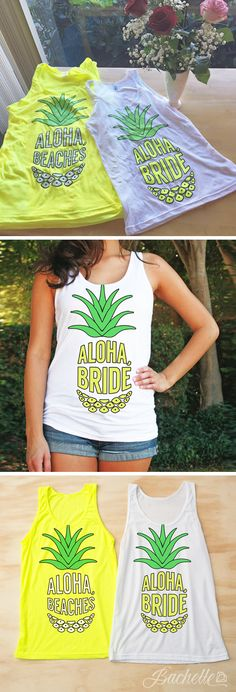 These adorable neon bachelorette shirts are perfect to get your party started! Spending your bachelorette party at the beach? A girls weekend in Palm Springs? We've got you covered. These tanks are su