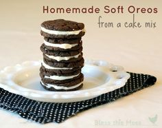 Homemade Soft Oreos from a cake mix - We love soft Oreos, sort of like Whoopie Pies but less cake-like. The boys will find these in their lunches very soon!!