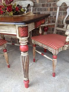 French Country painted dining set with red checked seats by Sisters Revamp Ranch.