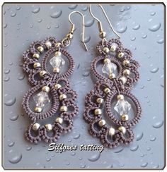 Silfoxes tatting: grigio e swarovski - Beaded earrings Tatting Earrings, Tatting Jewelry, Lace Earrings, Tatting Lace, Beaded Jewelry, Crochet Earrings, Handmade Jewelry, Jewellery, Beaded Necklace Patterns