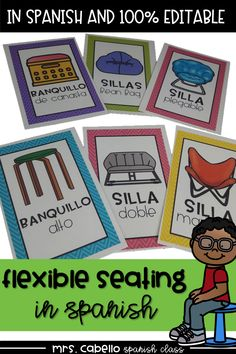 Flexible Seating Editable Charts in Spanish