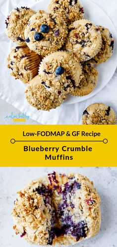 Blueberry Muffins (low-FODMAP, gluten-free recipe) These low FODMAP blueberry muffins make the perfect grab-and-go breakfast or snack to calm a craving, complete with streusel topping! These muffins freeze and thaw easily for meal prep. Fodmap Recipes, Gluten Free Recipes, Gourmet Recipes, Diet Recipes, Snack Recipes, Fodmap Foods, Dieta Fodmap, Fodmap Breakfast, Blueberry Crumble