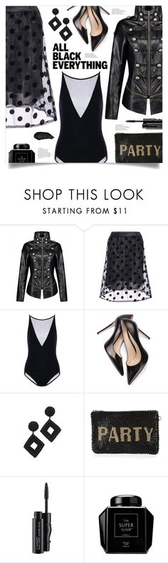 """""""Mission Monochrome: All-Black Outfit"""" by mahafromkailash ❤ liked on Polyvore featuring Kenneth Jay Lane, Mary Frances Accessories and MAC Cosmetics"""