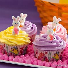 The cutest candy bunnies ever, with precious pink jelly beans, make these easy Easter cupcakes simply irresistible.