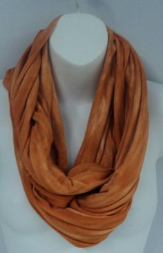 Rust colour tie dye infinity scarf in by qualicumclothworks