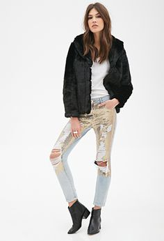 Distressed Sequin Jeans | FOREVER21 - 2000099103