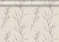 Pussy Willow Natural Floral Wallpaper_spare room w purple curtains & pale french grey